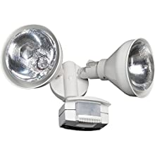 Lithonia Lighting OMS 2000 PR2 120 WH M4 White 2 Head Flood Light with 1 Direction Motion Sensor, Higher Wattage