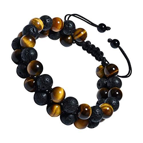 CAT EYE JEWELS Adjustable Beads Bracelet 8mm Double Layer Natural Energy Healing Stone Bracelet B002 Double Row Drop Necklace