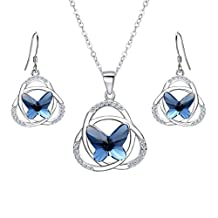 EVER FAITH 925 Sterling Silver CZ Celtic Knot Butterfly Pendant Necklace Earrings Set Blue Adorned with Crystals from Swarovski®