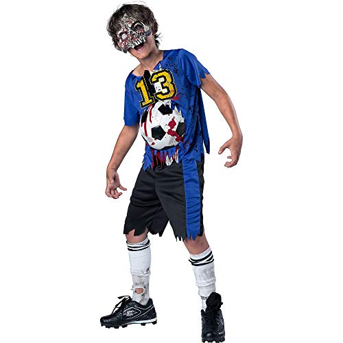 (Fun World Easter Unlimited Soccer Player Zombie Halloween Costume for Boys, Medium, Includes Shirt, Shorts, and)