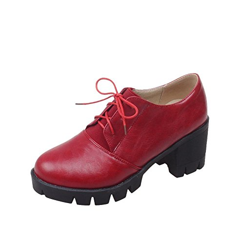Spectacle Briller Mode Féminine Plate-forme Chunky Talon Chaussures Oxford Rouge