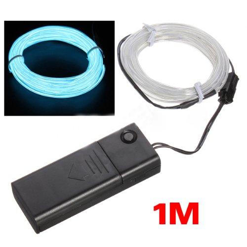 TOOGOO(R) 1M Azure Flash Flexible Neon Light Glow El Strip Tube Wire+Battery Case