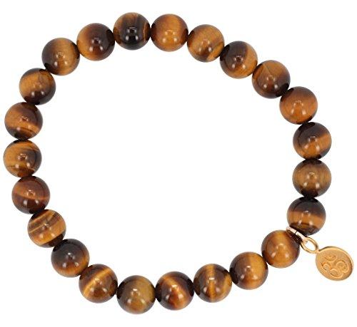Balancing and Abundance Bracelet with Gold Om Charm - Tiger Eye Energy Bracelet 8mm Round, #6671