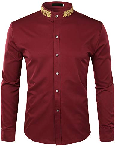 ZEROYAA Mens Hipster Gold Embroidery Mandarin Collar Slim Fit Long Sleeve Casual Dress Shirts Z52 Wine Red Large
