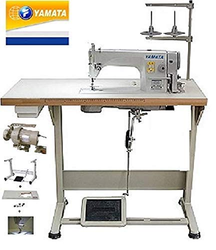 Yamata Industrial Sewing Machine FY-8700 Lockstitch Sewing Machine with Servo Motor + Table Stand + LED Lamp Commercial Grade Sewing Machine for Sewing All Types of Fabrics (DDL-8700) (Machine Sewing Table Industrial)