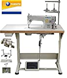 Yamata Industrial Sewing Machine FY-8700 Lockstitch Sewing Machine with Servo Motor + Table Stand + LED Lamp Commercial Grade Sewing Machine for Sewing All Types of Fabrics