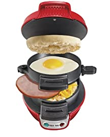 Hamilton Beach 25476 Breakfast Electric Sandwich Maker, Red