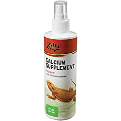 Zilla Reptile Health Supplies Calcium Supplement Food Spray, 8-Ounce