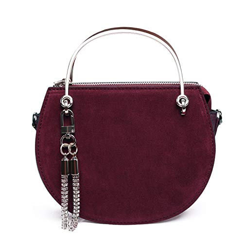 Luxury Handbags Women Bags Designer Tote Suede Leather Saddle Bag Chain Shoulder Purse Bolsa,Burgundy ()