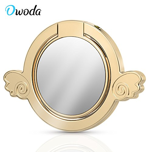 Owoda Angel Design Phone Ring Stand 360 Degree Rotating Ring Holder Cell Phone and Tablets Anti Drop Grip Ring for iPhone iPad Samsung Nexus (Mirror Angel-Gold)