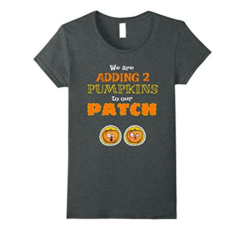 Womens Twins Pregnancy Halloween T-Shirt Adding 2 Pumpkins To Patch Large Dark Heather