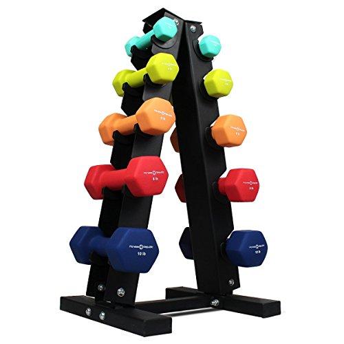 Fitness Republic Neoprene Dumbbells Pairs (2lb, 4lb, 6lb, 8lb, 10lb) with 5 Tier Rack Review