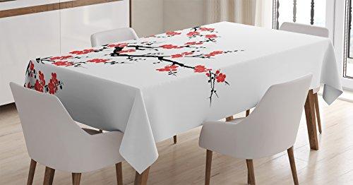 Ambesonne Japanese Decor Tablecloth Simplistic Cherry