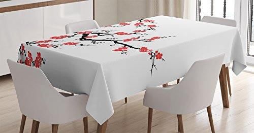 Ambesonne Japanese Decor Tablecloth, Simplistic Cherry Bloss