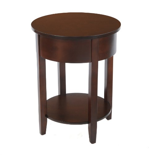 Bay Shore Collection Round Side Table with Round Accent, (Maple Round Accent Table)