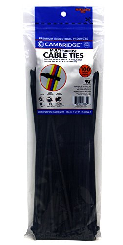 Cambridge Multi Purpose Cable Ties Zip Ties 11 Inch 75 Lb 100 Pieces Standard Duty UV Black