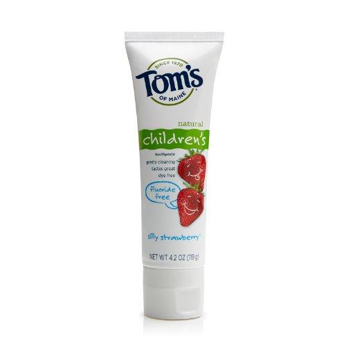 Том Мэн фторида бесплатных детских зубная паста, глупый клубника, 4,2 унции, 3 шт
