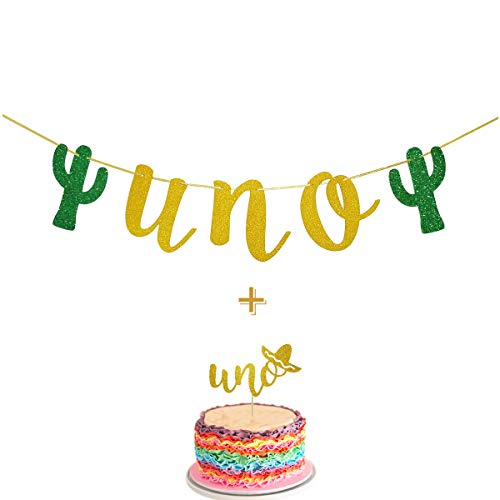 Fiesta First Birthday Smash Cake Kit Gold Glitter UNO Highchair Banner with UNO Cake Topper For Fiesta Cactus Taco Party Supplies -