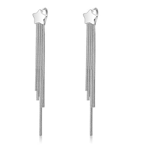 1fe26e8c78ad Creativelife Women's Silver Plated Star Tassel Earring Long Section ...