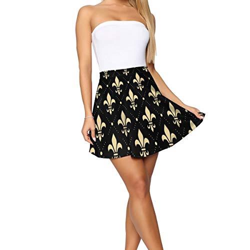 Elegant Gold Fleur De Lis Pleated Skirt High Waist Vivid Printed Short Dress