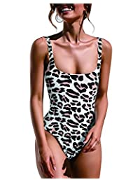 0b4c57f5bcc LANISEN Women Sexy Leopard Print High Cut Onepiece Swimsuit Tummy Control Bathing  Suit
