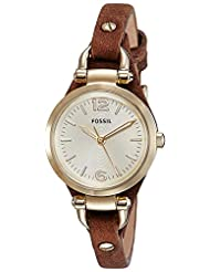 Fossil Women's ES3264 Georgia Gold-Tone Stainless Steel Watch with Leather Band