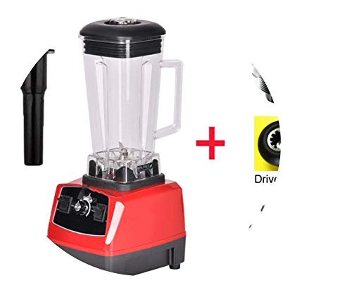 (3Hp 2200W Heavy Duty Commercial Grade Blender Mixer Juicer High Power Food Processor Ice Smoothie Bar Fruit Blender,Red Bladedrivetool,Us Plug)