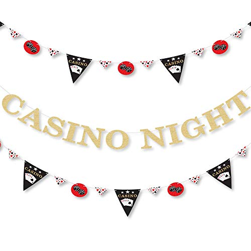 Las Vegas - Casino Party Letter Banner Decoration - 36 Banner Cutouts and No-Mess Real Gold Glitter Casino Night Banner Letters]()