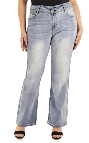 Angels Forever Young Women's Plus Size Curvy Bootcut Jeans, Atlantic, 20W