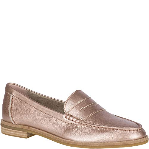 SPERRY Women's Seaport Penny Metallic Loafer, Rose Gold, 7