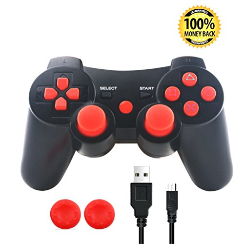 PS3 Controller, Wireless Bluetooth Gamepad Double Vibration Six-Axis Remote Joystick for Playstation 3 with Charging Cord