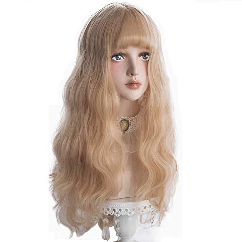 Long Wavy Blonde Wig Bangs - Natural Synthetic Hair Lolita Wigs with Wig Cap For White Women Cosplay and Daily Wear