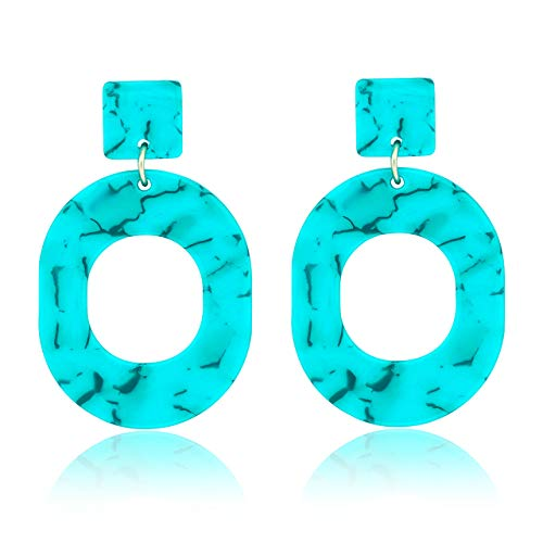 JYJ Oval Hoop Earrings for Women Statement Turquoise Resin Acrylic Earrings Geometric Dangle Earrings Mottled Ear Studs (O-Turquoise)