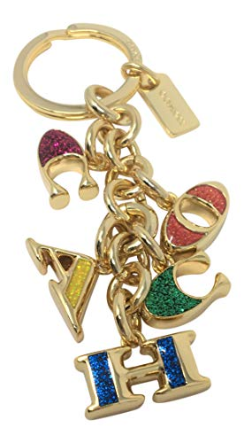 Multi Charm Keychain - Coach Letter Mix Key FOB Charm Gold & Multi F40679