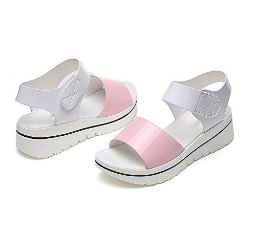 Fondo Con Sandalias Rosa Para Casual Peluche Zapatos Vacío Mujer Salvajes Grueso Estilo Meili De Estudiantes YWTwHq1xxE