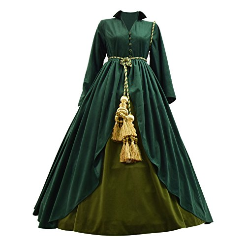 TISEA Women's Long Dress Scarlett O'Hara Cosplay Costume Halloween and Party Dress (S, Deep Green) -