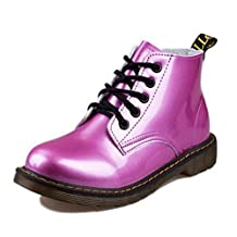 Heel Pig Patent Leather Boots Women School Lace Up Shoes Girls Red Black Motorcycle Ankle Boots