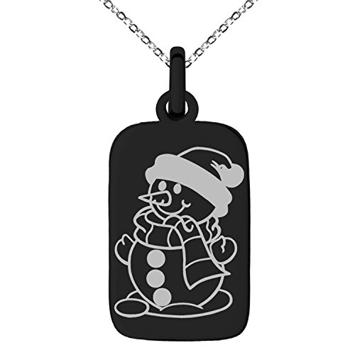 Black Stainless Steel Happy Snowman Engraved Small Rectangle Dog Tag Charm Pendant - Black Charm Snowman