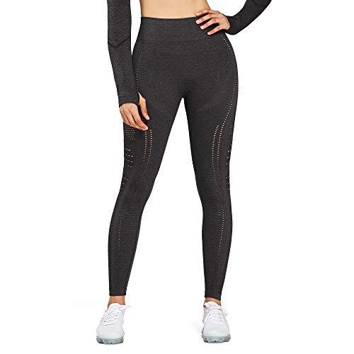 Aoxjox Women's High Waist Workout GymVital Seamless Leggings Yoga Pants (Flawless Knit Black Charcoal Marl, Small)