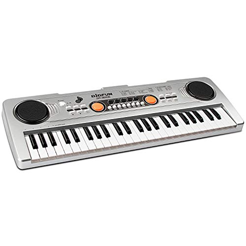aPerfectLife 49 Keys Piano Keyboard for Kids Multifunction Portable Piano Electronic Keyboard Music Instrument for Kids Early Learning Educational Toy (Silver)