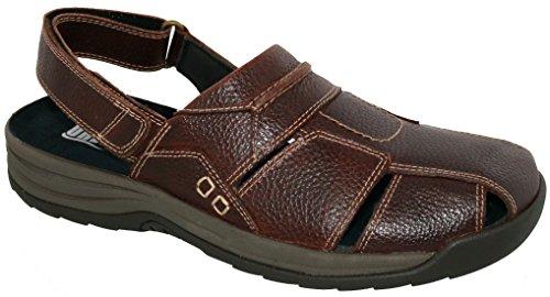 Drew Sko Barcelona - Mens Terapeutiska Diabetisk Extra Djup Sandal Läder Velcro Brun / Småstenar