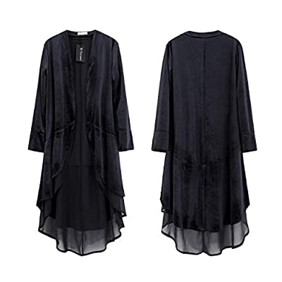R.Vivimos Womens Ruffled Asymmetric Long Velvet Blazers Coat Casual Jackets: Clothing