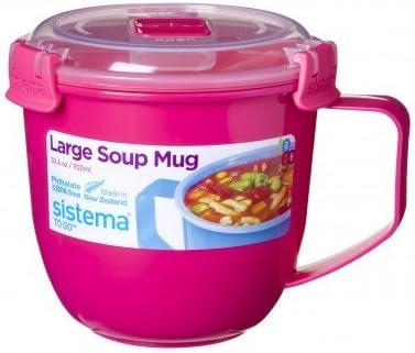 Taza para microondas con tapa, para sopa, 565 ml: Amazon.es: Hogar