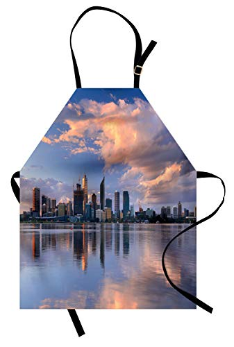 Lunarable Australia Apron, Across Swan River Vista of Perth Skyline Fluffy Clouds and Modern Buildings, Unisex Kitchen Bib Apron with Adjustable Neck for Cooking Baking Gardening, -