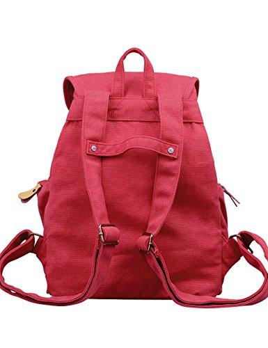 DGY - Moda mochila de lona y PU cuero con diseño casual para mujer Bolsa de Viaje Mochila de a diario - E00117 Beige Rojo