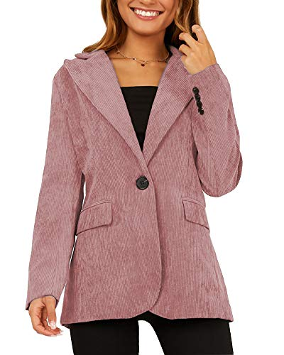 Womens One Button Corduroy Lapel Blazer Jacket Classic Notched Office Vintage Suit with Pockets Pink