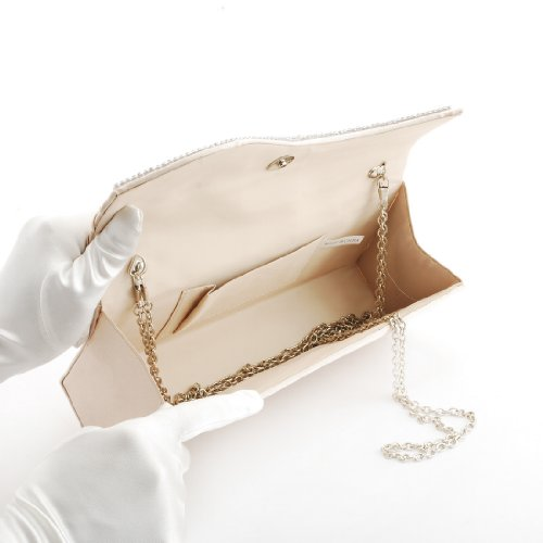Flap Crystal Satin Damara Clutch Womens Pleated Champagne Evening Bag wRqxgtz