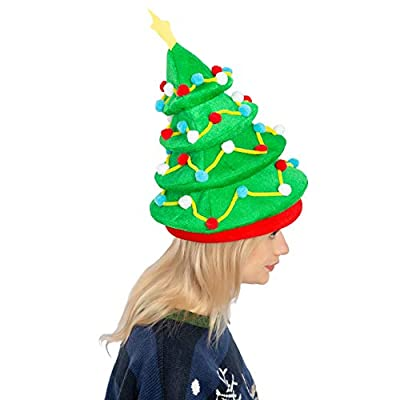 JOYIN Plush Christmas Tree Hat for Festive Party Dress Up Celebrations, Winter Party Favor, Christmas Decorations, Beanie Costume Accessories Green: Clothing