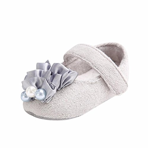 Amiley Baby First Crib Shoes,Infant Toddler Baby Girls Marry Jane Anti-Slip Pearl Shoes Newborn Crib Sneakers Shoes (US4.5(11.5CM/4.5