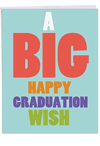 J3458GDG Jumbo Graduation Greeting Card: Big Graduation Wish, with Envelope (Giant Size: 8.5